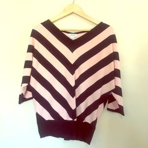 Carmen Marc Valvo mitered stripe sweater